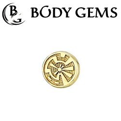 "Body Gems 14kt Gold Crop Circle Threadless End 25g Pin (will fit 18g, 16g, 14g Universal Threadless Posts) ""Press-fit"""