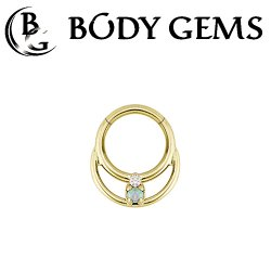 Body Gems 14kt Gold Clicker Double Ring with 2 Gem Pear Septum Daith Ring 16 Gauge 14 Gauge 16g 14g