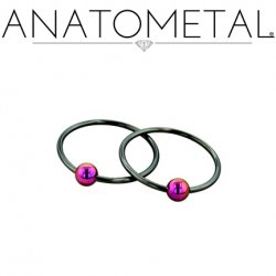 Anatometal Niobium Captive Bead Ring with Titanium Bead CBR 14 Gauge 14g
