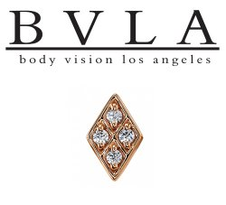 "BVLA 14kt & 18kt Gold ""Kerry Diamond"" Threaded End 18g 16g 14g 12g Body Vision Los Angeles"