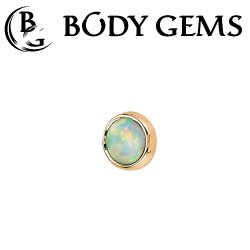 "Body Gems 14kt Gold Super Flat 5mm Cabochon Threadless End 25g Pin (will fit 18g, 16g, 14g Universal Threadless Posts) ""Press-fit"""