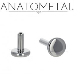 "Anatometal Threadless Titanium Universal Flatback Disk Labret Post Stud Lip Ring 14 Gauge 14g (Accepts Only 25g Pin Threadless Ends) ""Press-fit"""