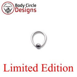 "Body Circle Surgical Stainless Steel 3/8"" Tapered Oval Captive Bead Ring with Hematite Bead 14 Gauge 14g"