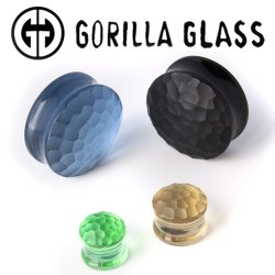 "Gorilla Glass Solid Martele Double Flare Plugs 0 Gauge to 2"" (Pair)"