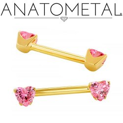 Anatometal 18kt Gold Side-set Heart Gem Barbell 12 Gauge 12g