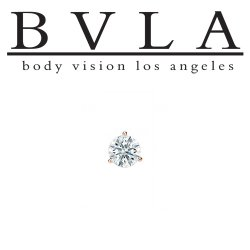 "BVLA 14kt & 18kt Gold ""3-Prong 2.5mm Gem"" Threaded End 18g 16g 14g 12g Body Vision Los Angeles"