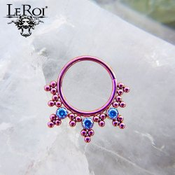 LeRoi Niobium Seam Ring with Bead Design and 2.5mm Gems 18 Gauge 16 Gauge 18g 16g
