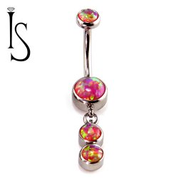 Industrial Strength Surgical Steel Navel Curve Barbell Belly Button Ring Fixed 6mm Bezel-set Faux-pal Cabochon Gem Two 4mm Bezel-set Dangle Gems 14 Gauge 14g