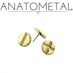 "Anatometal 18kt Gold Threadless Flat Head & Phillip's Disk End 3mm 4mm 3/16"" 25g Pin (will fit 18g, 16g, 14g, 12g Universal Threadless Posts)"