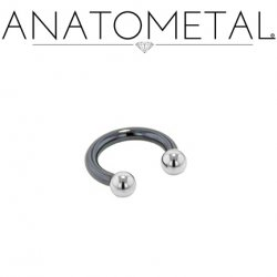 Anatometal Niobium Circular Barbell With Steel Ball Ends 14 Gauge 14g