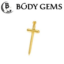 "Body Gems 14kt Gold ""Excalibur"" Threaded End Dermal Top 18 Gauge 16 Gauge 14 Gauge 12 Gauge 18g 16g 14g 12g"
