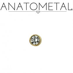 Anatometal 18kt Gold Threadless 1.5mm Bezel-set Faceted Gem End 18g 16g 14g (25g Pin Universal) Threadless Posts Press-fit