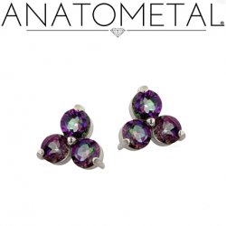 Anatometal 18kt Gold Trio Earrings 3mm Faceted Gems (Pair)