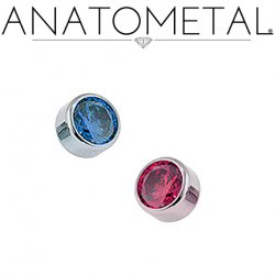 Anatometal Titanium Threaded 5mm Bezel-set Faceted Gem End 18g 16g 14g 12g 10g 8g