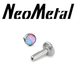 "14 Gauge 14g NeoMetal Titanium Universal Threadless Flatback Labret Post with Bezel-set Cabochon Gem End ""Press-fit"""