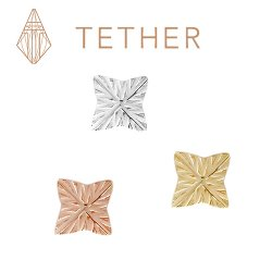 "Tether 14Kt Gold 4-Point Star Threadless End 25g Pin (will fit 18g, 16g, 14g Universal Threadless Posts) ""Press-fit"""