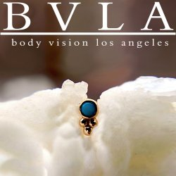"BVLA 14kt & 18kt Gold ""1.5mm Bezel with 3 Beads"" Threadless End 18g 16g 14g ""Press-fit"""