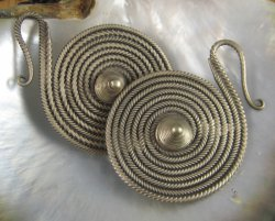 Miao Silver Coiled Circle Hanging Hooks 12g (Pair)