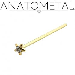 Anatometal 18kt Gold Gem Star Nostril Screw Nose Ring 1.5mm Gem 20 Gauge 18 Gauge 20g 18g