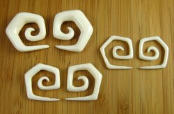 Organic Water Buffalo Bone 5 Corner Spirals 10g-2g (Pair) 2.5mm-6.5mm