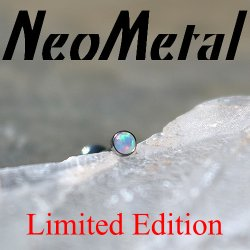 "NeoMetal Limited Ed. Threadless Titanium 1.5mm Faceted White Opal Bezel-set Gem End 25g Pin (will fit 18g, 16g, 14g Universal Threadless Posts) ""Press-fit"""