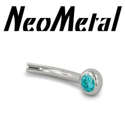 "16 Gauge 16g NeoMetal Threadless Titanium Fixed 2.5mm Side Gem Curved Barbell Shaft ""Press-fit"""