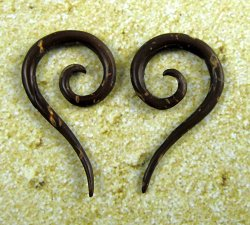 Organic Coconut Shell Tail Spirals 12g-6g (Pair) 2mm-4mm