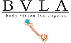BVLA 14kt Beaded Turquoise J-Curve Barbell 16g 14g Body Vision Los Angeles