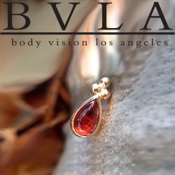 "BVLA 14kt & 18kt Gold ""Beaded Pear"" 5mm x 3mm Threadless End (Beads on Point Side) 18g 16g 14g ""Press-fit"""