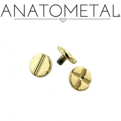"Anatometal 18kt Gold Threaded Flat Head & Phillip's Disk End 3mm 4mm 3/16"" 18g 16g 14g 12g"