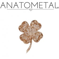 "Anatometal 18kt Gold ""Shamrock"" Threadless End 25g Pin (will fit 18g, 16g, 14g Universal Threadless Posts) Press-fit"