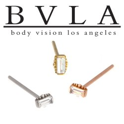 BVLA 14kt 18kt Gold Beaded Baguette 2mm x 4mm Nostril Screw Nose Bone Ring Stud Nail 20g 18g 16g Body Vision Los Angeles