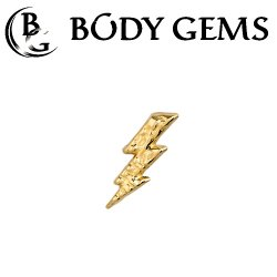 "Body Gems 14kt Gold Hammered Lightning Threadless End 25g Pin (will fit 18g, 16g, 14g Universal Threadless Posts) ""Press-fit"""