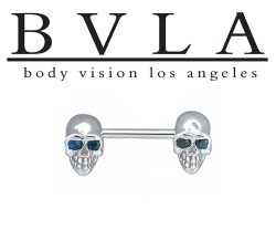 "BVLA 14kt & 18kt Gold ""Skull Bell"" Nipple & Industrial Barbell 12g Body Vision Los Angeles"