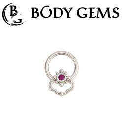 Body Gems 14kt Gold Clicker with 2mm Gem Burst and Beaded Knocker Septum Daith Ring 16 Gauge 14 Gauge 16g 14g
