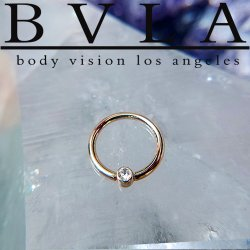 BVLA 14kt Gold Fixed Bezel Ring Nostril Navel Ring 16 Gauge 16g Body Vision Los Angeles