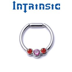 Intrinsic Body Titanium 3 Gem Septum Clicker 2.5mm Center Gem Nose Ring Daith Ring 18 Gauge 16 Gauge 14 Gauge 18g 16g 14g