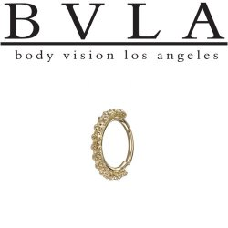 "BVLA 14kt Gold ""Milo"" Seam Ring (Navel Oriented) 18 Gauge 18g Body Vision Los Angeles"
