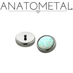 Anatometal Titanium 6mm Bezel-set Cabochon Gem Threaded End 18g 16g 14g 12g 10g 8g