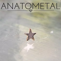 Anatometal 18kt Gold Star Threaded End 18g 16g 14g 12g