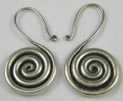 Miao Silver Round Question Mark Earrings 12g (Pair)
