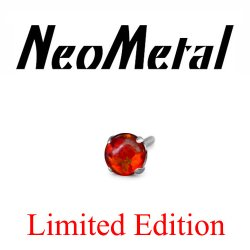 "18 Gauge 18g NeoMetal Limited Edition Threadless Titanium Prong-set Fire Opal Cabochon Gem 2.0mm ""Press-fit"""