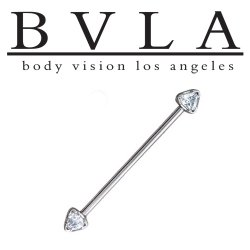 BVLA 14kt Gold Trillion 4mm Genuine Diamond Industrial Barbell 14 Gauge 14g Body Vision Los Angeles