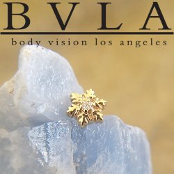 "BVLA 14kt & 18kt Gold ""Snowflake"" Genuine Diamond Threaded End Dermal Top 18g 16g 14g 12g Body Vision Los Angeles"