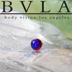 "BVLA 14kt & 18kt Gold ""5mm Cabochon Round Cup"" Threaded End 18g 16g 14g 12g Body Vision Los Angeles"