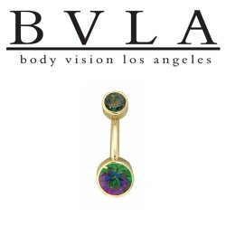 "BVLA 14kt Gold Navel Curved Barbell with ""Classic Bezels"" 4mm Top Gem 6mm Fixed Bottom Gem 14 gauge 14g Body Vision Los Angeles"