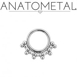 Anatometal Surgical Steel Sabrina Daith Septum Seam Ring With Silver Overlay 18 Gauge 18g