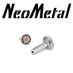 "14 Gauge 14g NeoMetal Titanium Universal Threadless Flatback Labret Post with Bezel-set Rose Cut Cabochon Gem End ""Press-fit"""