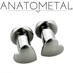 Anatometal Surgical Steel Solid Heart Plugs Removable Disk 10g 8g 6g 4g 2g 0g 00g