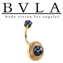 "BVLA 14kt Gold ""Cleopatra's Shield"" Black Pearl J-Curved Navel Barbell 14 Gauge 14g Body Vision Los Angeles"